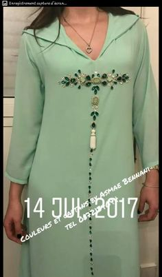 This Pin was discovered by Nin Mode Abaya, Mode Hijab, Kurta Designs, Blouse Designs, Moroccan Dress, Muslim Dress, Designs For Dresses, Embroidery Suits, Indian Designer Outfits