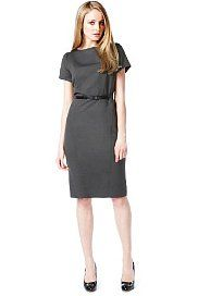 Autograph Stab Stitch Belted Dress with Wool