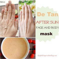 DIY Anti-Tan Beauty Mask for Sun burned skin.All Natural and give instant results. Lightens and brightens the skin.