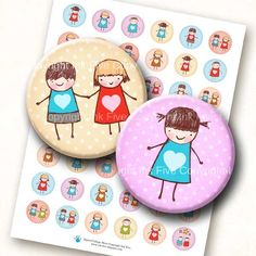 Cute Creche 1 inch circles. Doodle stick figures images for kids jewelry, bottle caps, cupcake toppers, bottlecaps. 1.313 available. $4.20, via Etsy.