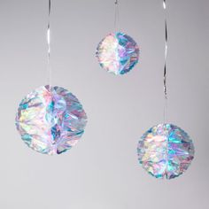 Set of 3 Iridescent Holographic Hanging Honeycomb Christmas Party Decorations for sale online Christmas Party Decorations, Xmas Party, Paper Decorations, Christmas Crafts, Christmas Ornaments, Party Font, Winter Wonderland Birthday, Glitter Party, Silver Christmas