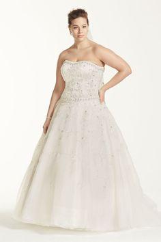 Oleg Cassini Satin and Organza Wedding Dress Style 8CT258