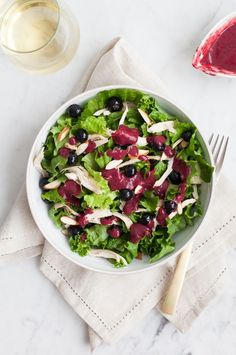 Blueberry Chicken Salad with Berry Vinaigrette. healthy recipe for dinner or lunchl