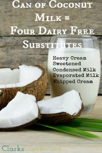 Four great dairy free substitutes made from coconut milk - evaporated milk, sweetened condensed milk, whipped cream, and heavy cream!