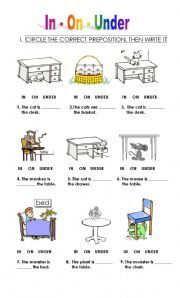 English worksheet: prepositions for kids ELD!!! YAY!