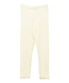 Ivory Floral Lace Cuff Leggings - Infant, Toddler & Girls