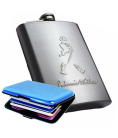 hipflask Johnnie Walker Stainless Steel Hip Flask 8 oz with aluma wallet