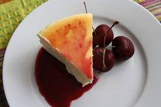 Lemon Cheesecake with Cherry Glaze @ How to Ice a Cake