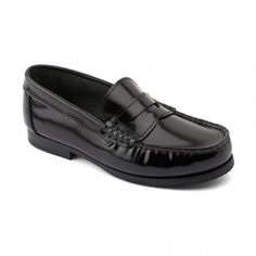 Penny - Black High Shine - these stylish Start-rite girls school shoes have a leather sock and elongated heel stiffener. Leather School Shoes, Leather Socks, Black Leather Shoes, Leather Slip Ons, Boys School Shoes, Boys Shoes, Girls School, Childrens Shoes, Loafers Men