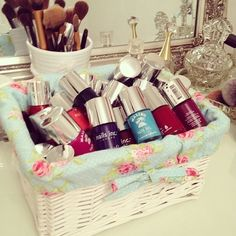 New makeup storage baskets nail polish 57 ideas Makeup Storage Baskets, Makeup Organization, Nail Polish Storage, Make Up Storage, Storage Ideas, Diy Tumblr, This Is Your Life, Hot Nails, Nails Inc