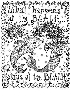 Mermaid and Dolphin What Happens at the Beach Instant Download Coloring Page