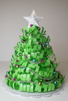 Paper Fringe Wrapped Around a Cone Shape to make a Christmas Tree.