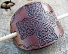 Leather hair barrette, celtic cross, hand embossed, antiqued effect, hair accessory, handmade, with wooden stick, womens, girls, mahogony