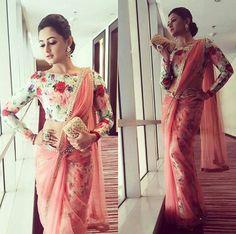 visit us https://www.facebook.com/punjabisboutique @nivetas Rashmi desai slaying it in this floral saree.