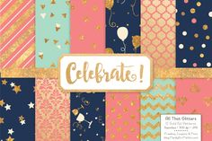There is glitter, gold and sparkles everywhere with this free collection of gold glitter papers by Amanda Ilkov. Free at TheHungryJPEG.com