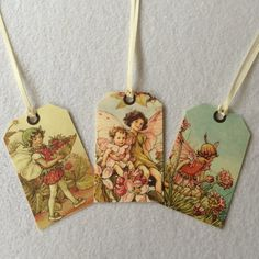 Flower Fairy gift tags  set of 8  fairies by RebeccasLeaves