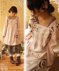 Could be a long tunic shirt, or a short dress. Either way it's amazingly cute. Modern Outfits, Cool Outfits, Mori Girl Fashion, Forest Girl, Chic Hairstyles, Whimsical Fashion, Altering Clothes, Doll Costume, Japanese Street Fashion
