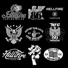 #7 All the designs are so different yet gives the same feeling. It has a very classic feel. Classic motorcycles. Reminds me of an old auto body shop or motorcycle club. They can all be patches on vintage motorcycle jacket.