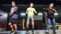 """Cameron Bartell, left,  as Ethan Girard; Brian Skellenger, as Malcolm McGregor; and Scott Mohon, as Dave Bucatinsky perform during a rehearsal for Theatre Victoria's """"The Full Monty."""""""