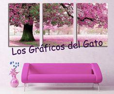 Precioso gráfico de un triptico de un árbol con flores rosas...
