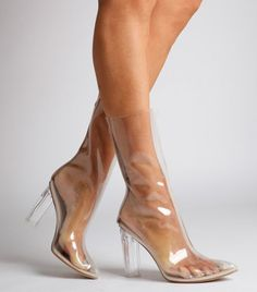 Ego Shoes Tasha Perspex Clear Ankle Boot