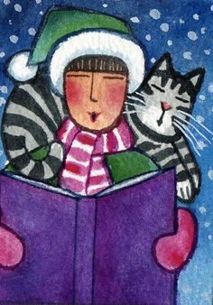 Christmas Cat Lady and Tabby Kitty Original Watercolor Art ACEO Painting by Susan Faye,  SusanFayePetProjects, $15.00
