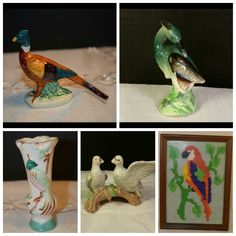 I enjoy searching for unique vintage treasures like these bird motif items at Shellyssselectsalvage.com