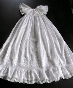 French Antique Christening Gown Handmade with Exceptional Embroidery Beautifully Elegant