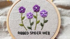 Ribbed Spider Web Stitch aka whipped spider web stitch (whipped spider wheel stitch) - flower hand embroidery tutorial Hand Embroidery Tutorial, Spider, Coin Purse, Stitch, Flowers, Needlepoint, Spiders, Full Stop, Royal Icing Flowers