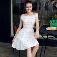 Nueva llegada de la manera mujeres dress vintage verano de la raya vertical de cuello mini dress vestidos oficina dress súper elástico una línea delgada dress en Vestidos de Ropa y Accesorios de las mujeres en AliExpress.com | Alibaba Group