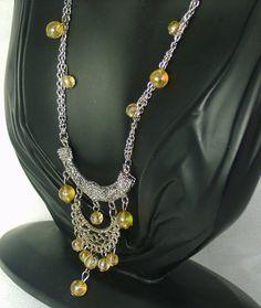 30% off #sale until 11/23/15 Vintage aurora borealis glass bead #lavaliere…