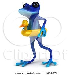 Clipart 3d Blue Springer Frog With An Inner Tube 2 - Royalty Free CGI Illustration by Julos