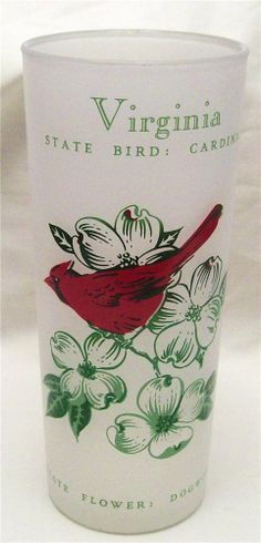 Vintage State Glass Virginia Frosted Ice Tea Cardinal Dogwood Hand Painted