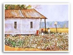 Louisiana Cotton Field Folk Acrylic Painting Art Print Signed and Numbered Cotton Painting, Painted Canvas Shoes, Number Art, Cotton Fields, Watercolor Paintings, Painting Art, Watercolors, Country Art, Country Roads