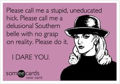 Southern. Not stupid.  Strong woman. Not anti-woman.  Patriotic. Not an enemy of America.  Bring it on.