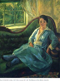 My Wife in Blue, 1917  John French Sloan
