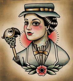Mary Poppins Flash Tattoo Paintings by Quyen Dinh - Disney Pin Up Tattoos, Body Art Tattoos, Tattoo Drawings, Arabic Tattoos, Tattoo Ink, Sleeve Tattoos, Tatoos, Traditional Tattoo Design, Traditional Tattoo Flash