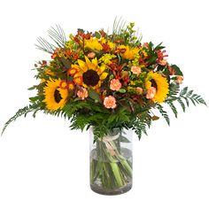 Yellow Flower Arrangements, Yellow Flowers, Sunflowers, Glass Vase, Home Decor, Decoration Home, Room Decor, Interior Design, Home Interiors