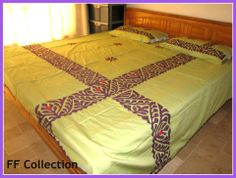 """Hand Made Applique Bed Sheet. Color guarantee. Fabric Pure Cotton. Size 108"""" by 96"""" inches..279 cm by 249 cm. 5 piece bed sheet. 1 sheet, 2 pillow, 2 cushion. Gently wash. imported.  Price 85 US $."""
