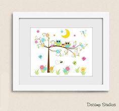 PRINTABLE NURSERY WALL Art Owl Tree Moon Stars Digital Download - Floral Girl Baby Room Decor - Butterfly Lightning Bug Bumble Bee Owl Nursery Decor, Nursery Furniture, Baby Room Decor, Nursery Wall Art, Girl Nursery, Girl Room, Owl Tree, Nursery Inspiration, Baby Cribs