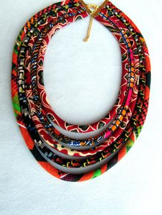 Fabric necklace african fabric necklace Cerry Bordeaux by nad205