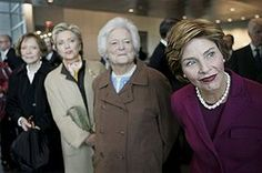 Former First Ladies (left to right) Rosalynn Carter, Hillary Clinton and Barbara Bush with then-First Lady Laura Bush at the dedication of the Clinton presidential library in 2004.