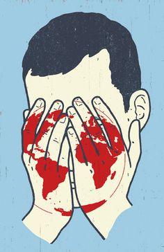Dan Page's editorial illustration for The Washington Post article 'How the Future Will Judge Us'. The illustration implies we have the 'blood' of the world on our hands – the simple colour palette makes us immediately read the pale hands cradling the face (shame/despair) and then the red stain as a globe. Combining a well known idiom (blood on your hands) with the visual cues of a globe and a person in despair communicate the complex message clearly.