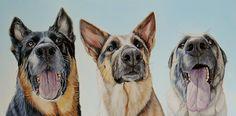 """Shepherds, 33"" x 13"", oil on canvas, 2014, www.jamesrubyworks.com #dogportrait #art #oilpainting #dogs"