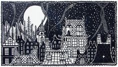 Papercut Christmas 2014, Christmas Cards, Holiday, Rob Ryan, Dramatic Arts, Black And White Illustration, Arts Ed, Silent Night, White Ink