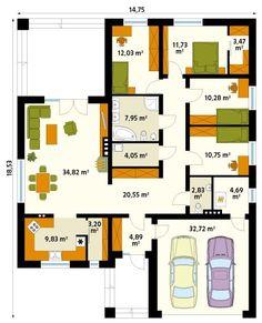 Pergola Front Of House Modern Bungalow House Design, Bungalow House Plans, Bedroom House Plans, Modern House Plans, Small House Plans, House Floor Plans, Bungalows, Casa Loft, Architect House