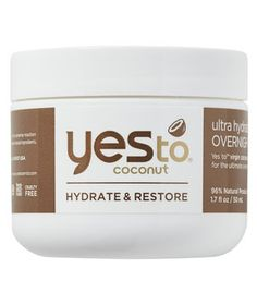 Yes To Coconut Ultra Hydrating Overnight Crème Mask | The best beauty products in the drugstore, handpicked by dermatologist Whitney Bowe.