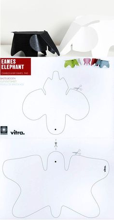 Free print template for an Eames elephant - Diy Cardboard Toys Kirigami Templates, 3d Templates, Animal Templates, Templates Printable Free, Printables, Elephant Party, Elephant Birthday, Cardboard Toys, Paper Toys