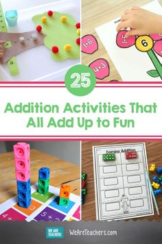 25 Awesome Addition Activities That All Add Up to Fun. Addition skill pave the way for years of math learning. Find hands-on addition activities, games, and printables. They're all fun, and they're all free! #math #teachingmath #printables #additionactivities #activities #activitiesforkids #elementaryschool Addition Activities, Addition Games, Math Addition, Addition And Subtraction, Activities For Kids, Therapy Activities, Math Board Games, Printable Board Games, Lego Math