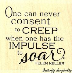 """{Single Count} Unique & Custom (2"""" Inches) """"Impulse To Soar, Hellen Keller Quote"""" Square Shaped Genuine Wood Mounted Rubber Inking Stamp"""
